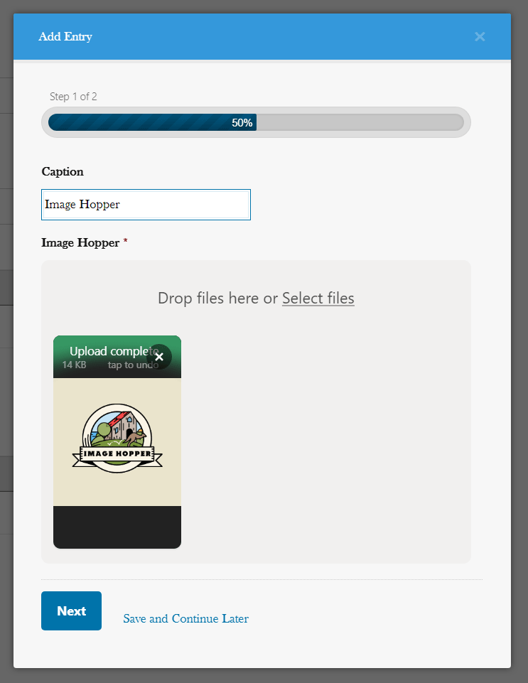 An image of the Image Hopper field when used with the Gravity Perks Nested Forms plugin.
