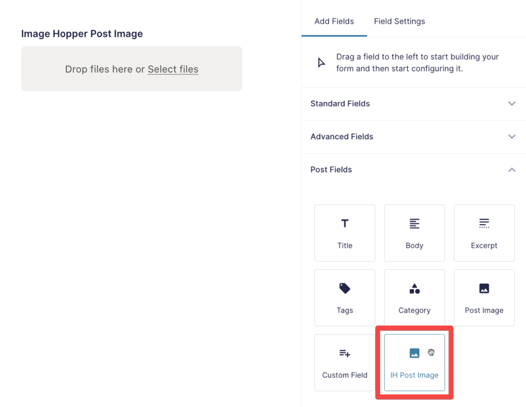 Image Hopper Post Image Field in the Form Editor