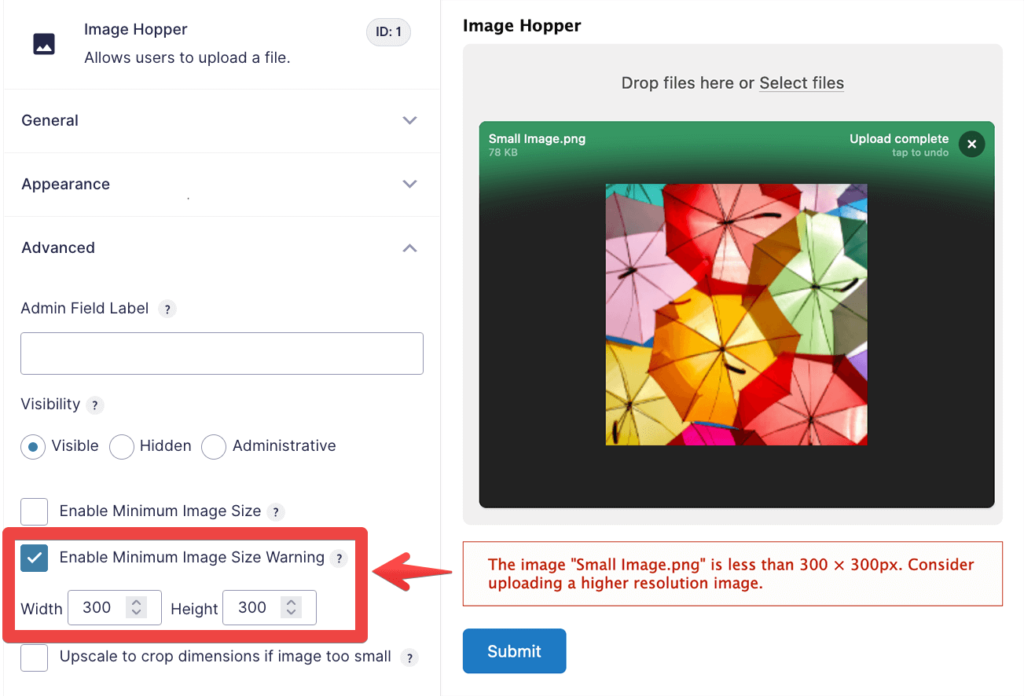 The setting used to enable minimum image size warning, and what the end user sees on upload.