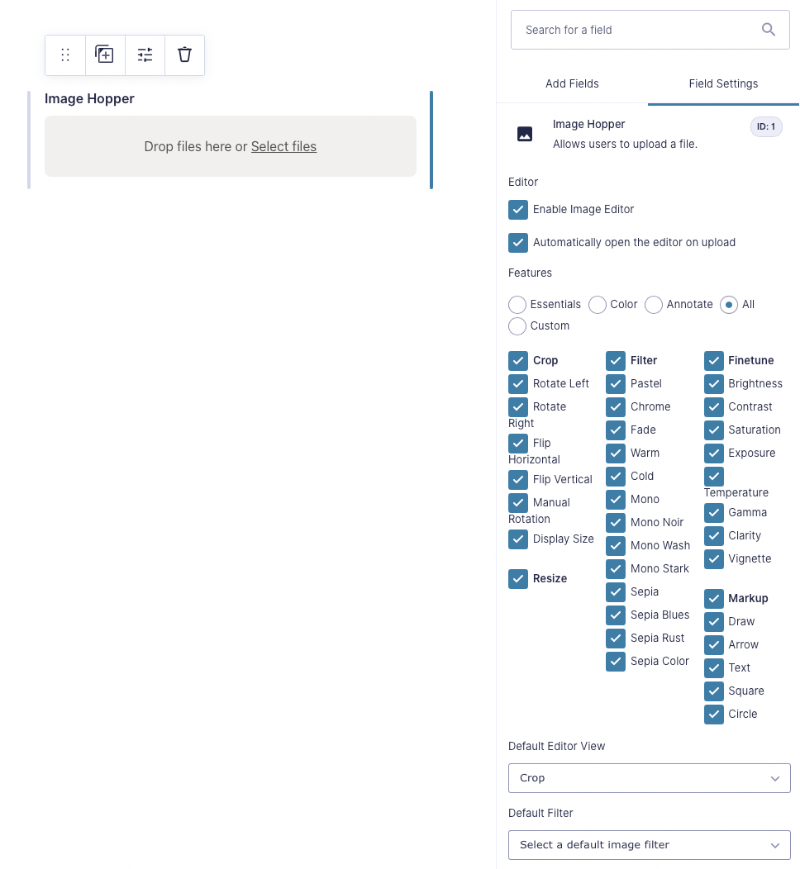 The editor settings in the Form Editor