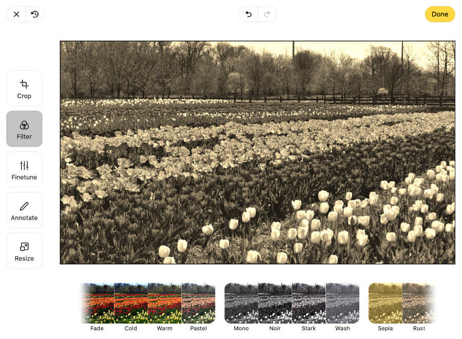 The editor Filter section showing a Sepia image
